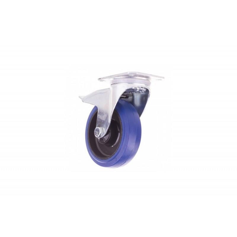 Lenkrolle Ø125mm blau mit Bremse